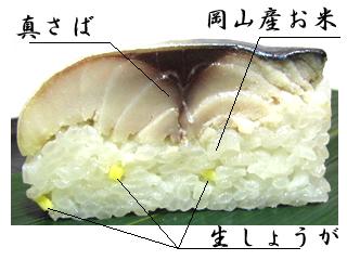 さば寿司の断面写真