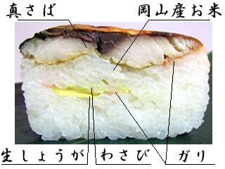 焼きさば寿司の断面写真